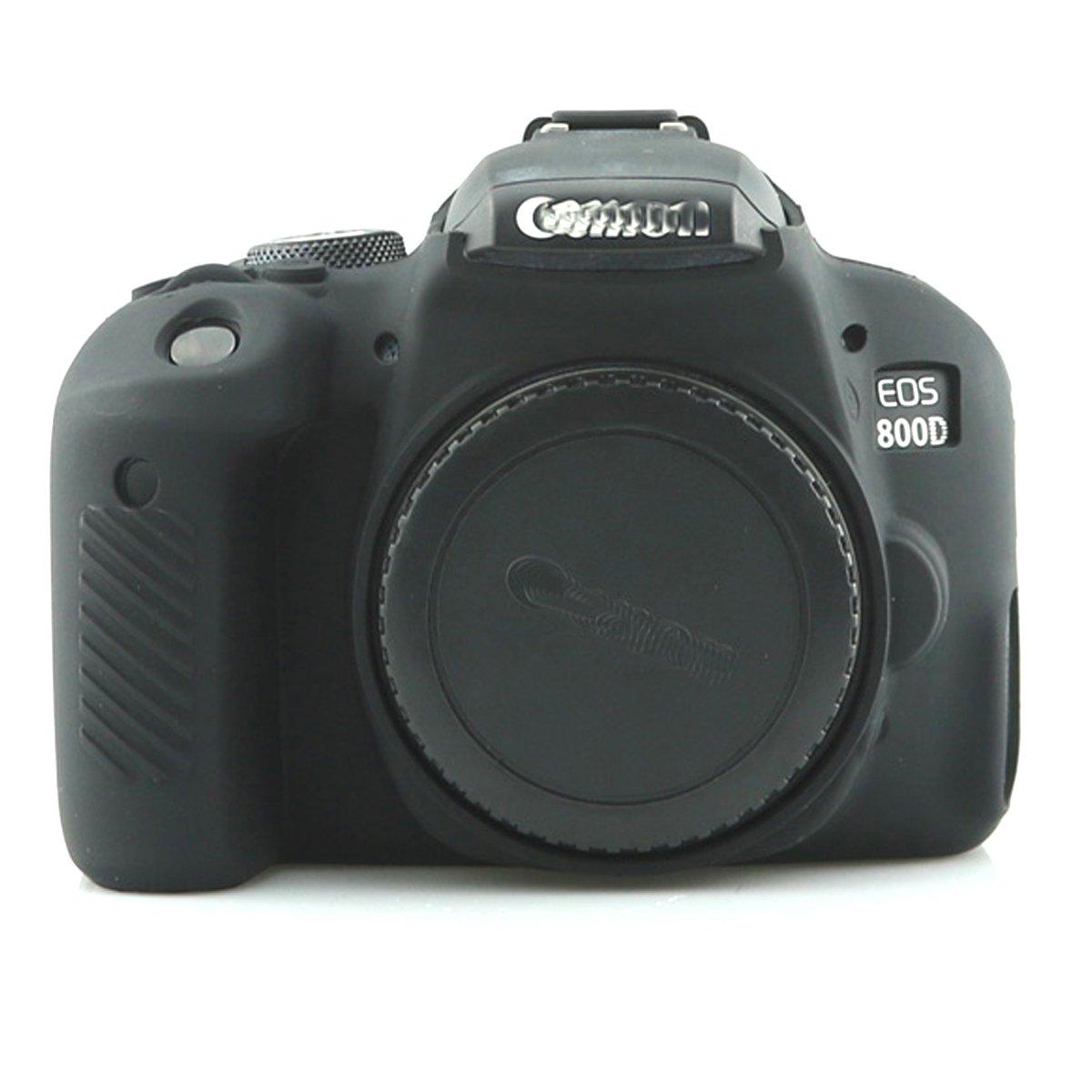 プロフェッショナル安全シリコンゲルゴムカメラケースバッグハウジングボディスキンfor Canon EOS 800d Rebel t7iデジタルSLRカメラ保護ケース  ブラック B07BGHH566