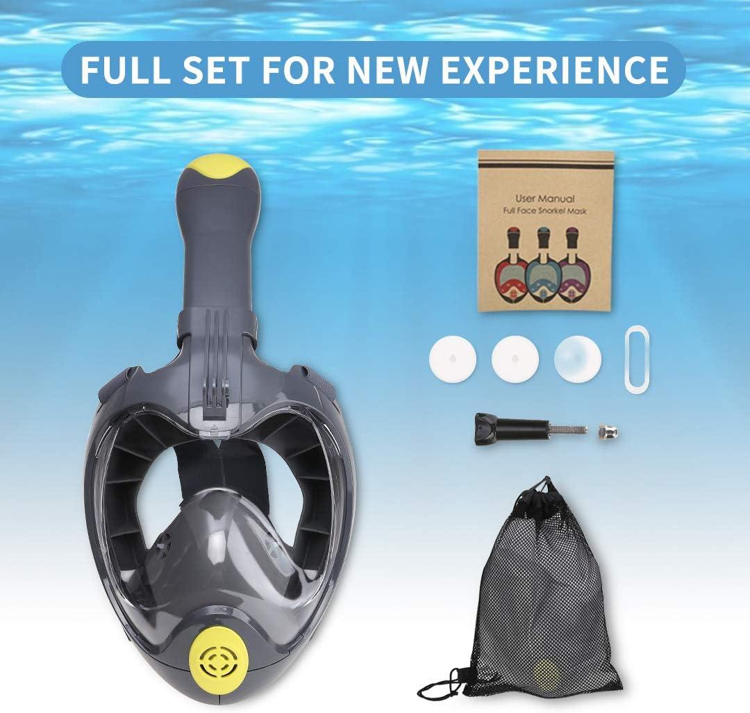 Fog Geat for Men Women Youth Leak Anti Unizooke Snorkel Mask Set,Foldable Full Face Snorkel Mask for Adults with Camera Mount Anti