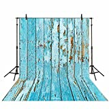 Funnytree 5x7ft Blue wooden board wall photography backdrops retro navy floor wood children photo studio background newborn baby shower photocall