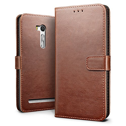 SLEO Asus Zenfone Go ZB551KL 5.5 Case , SLEO Retro Vintage PU Leather Wallet Flip Case Cover for Asus Zenfone Go ZB551KL 5.5 (Verizon, AT&T Sprint, T-mobile, Unlocked) - Coffee