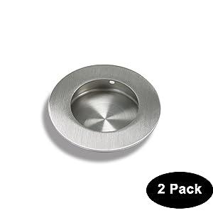 Circular Recessed Sliding Door Handles Round Flush Finger Pulls Diameter:2-1/2 in Stainless Steel 2 Pack