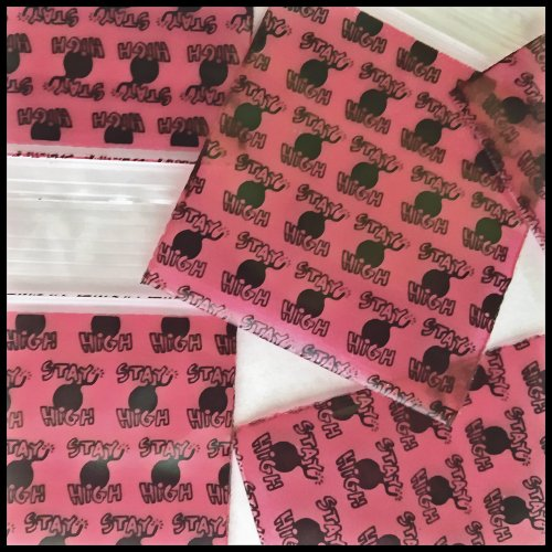 "Mini Ziplock 100 2020 Dual Color Designs Clear on Rear You Choose 2"" X 2"" Baggies Apple Brand (Stay High Bomb)"