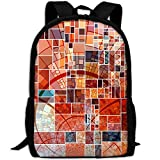 OIlXKV Abstract Geometric Squares Art Print Custom Casual School Bag Backpack Multipurpose Travel Daypack For Adult