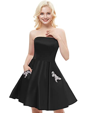 JoyVany Women Strapless Beading Homecoming Dresses 2018 Short Formal Gowns with Pockets Black Size 2