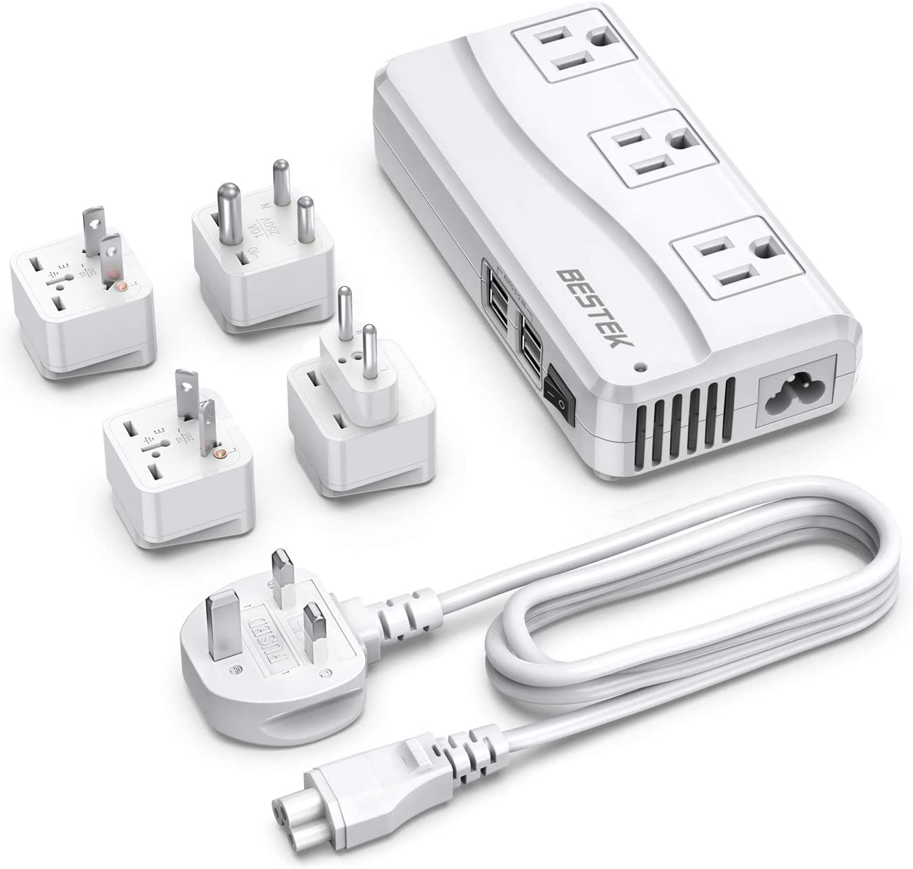 BESTEK Travel Adapter with UK Plug Universal 100-220V to 110V Voltage Converter 250W with 6A 4-Port USB Charging 3 AC Sockets and EU/US/India/AU Adapter for Worldwide use (White)