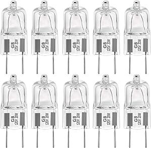 "EKSAVE G8 20Watt 120Volt Halogen Light Bulbs G8 Base Bi-Pin Shorter 35mm (1.38"") Length 20W T4 JCD Soft White Under Cabinet Puck Lighting Replacements,10Pack"