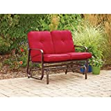 Mainstays Lawson Ridge Outdoor Glider Bench, Red, Seats 2 For Sale