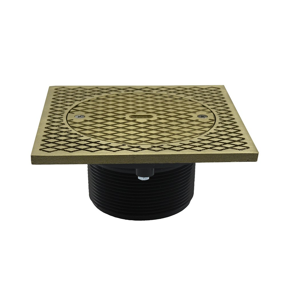 Jones Stephens, JS 3-1/2'' Plastic Heavy Duty Cleanout Spud with 7'' Nickel Bronze Square Cover PVC - D59911