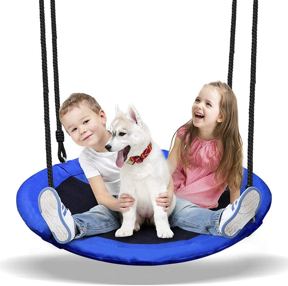 CJCJ-LOVE Swing Kids, Niños Ronda Nido Hamaca Silla De Cubierta Jardín Al Aire Libre, 900D Oxford Tela Swings Placa Oscilante 100Cm Diámetro,B