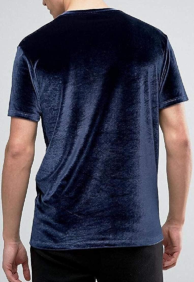 Wofupowga Mens Summer Tops Tees Short Sleeve Casual Velvet Solid T-Shirts