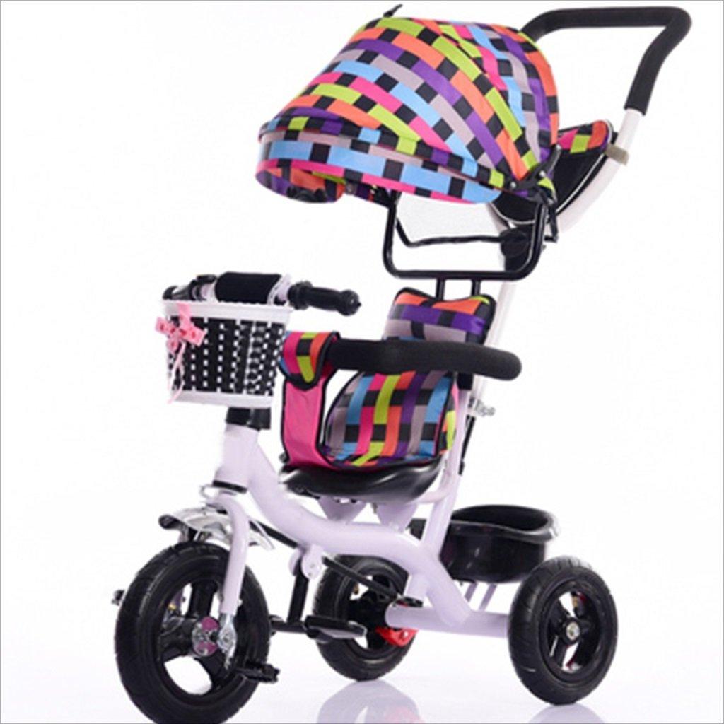 子供屋内屋外の小型三輪車自転車の男の子の自転車ガールズバイク7ヶ月-6歳の赤ちゃん三輪車トロニック、日除け付き、固体ゴムタイヤ/後輪二重ブレーキ (色 : 5) B07DVFNFYF 5 5