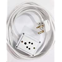 Tia 6 A 1 Sockets Power Extension with 5 m Cloth Cord, Anchor Socket and Plug (White)