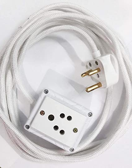 Tia 1 Sockets Power Extension with 5 m Cloth Cord, Anchor Socket and Plug-6A