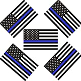 Creatrill Reflective US Flag Decal Packs with Thin Blue Line for Cars & Trucks, 5 x 3 inch American USA Flag Decal Sticker Honoring Police Law Enforcement 3M Vinyl Window Bumper Tape (5-Pack)