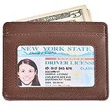 Slim Wallet RFID Front Pocket Wallet Minimalist Leather Credit Card Holder Case(Crosshath Coffee)