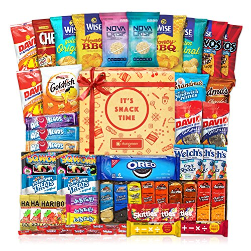 Snack Care Gift (Care Package (40 Count) Cookie Chips & Candies Party Snack Gift Bundle)