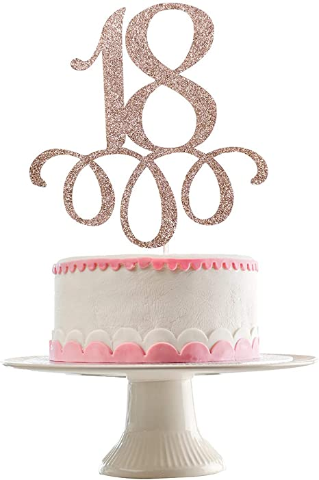 18th Birthday Topper 18th Cake Topper Number Eighteen -Large Glittery Gold