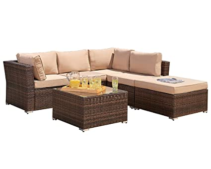 Suncrown Outdoor Furniture Sectional Sofa (4 Piece Set) All Weather Brown  Checkered