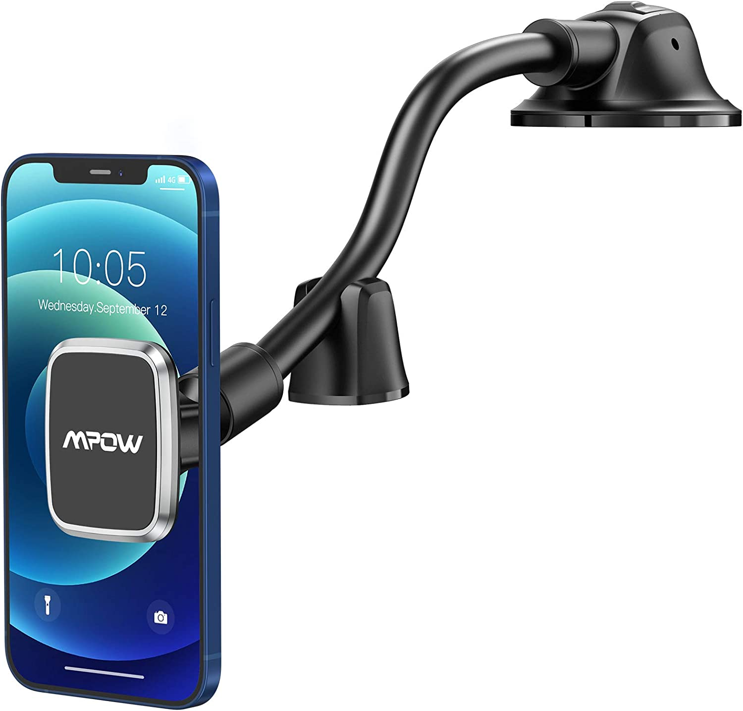 Mpow Car Phone Mount, Dashboard Magnetic Phone Holder with Strong Suction Cup, Long Gooseneck Car Mount Compatible iPhone 12 11 Pro Max/XS Max/XR/XS/X/8/7/6 Plus Etc