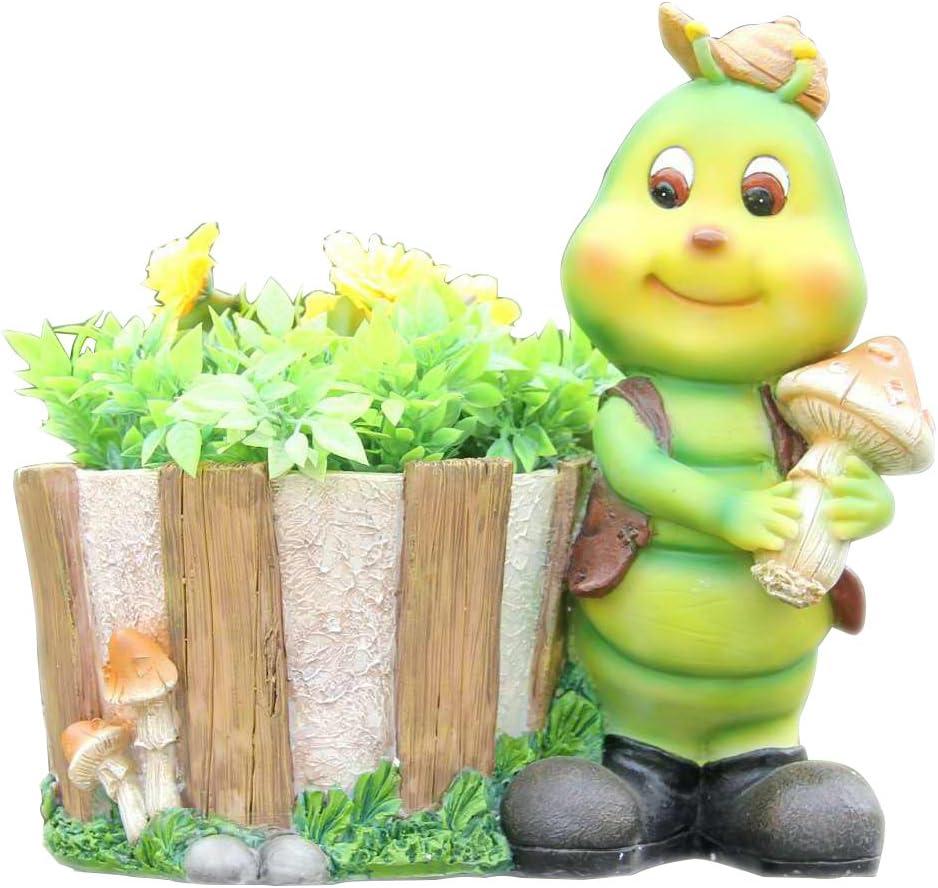 SINTECHNO SNF50012-1 Cute Green Caterpillar Sculpture with Flower Pot