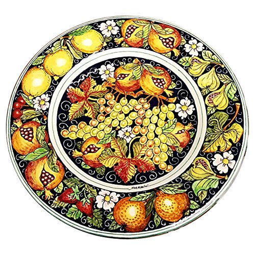 CERAMICHE D'ARTE PARRINI - Italian Ceramic Art Pottery Big Plate Flat Centerpiece Bowl Decorated Fruit Tuscan Made in ITALY