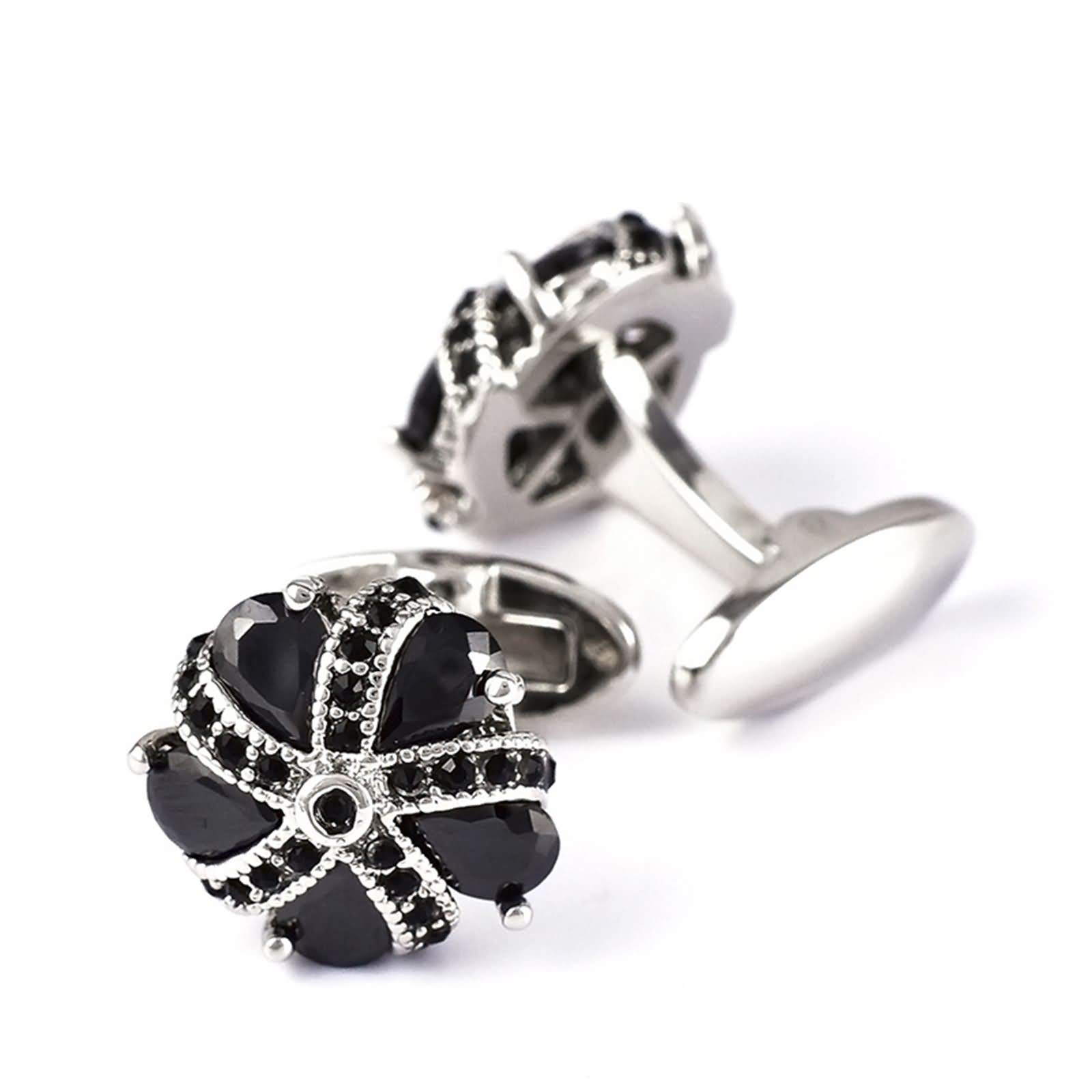 Daesar Cuff Links Copper Cuff Links Vintage Water Drop Flower Crystal Cubic Zirconia Black Cufflinks for Wedding Black