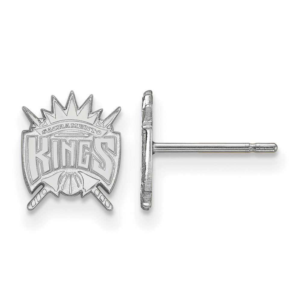 NBA Sacramento Kings X-Small Post Earrings in 10K White Gold by LogoArt