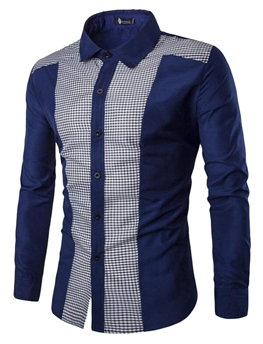 Gocgt Mens Slim Fit Shirt Button Down Casual Long Sleeves Top Shirt