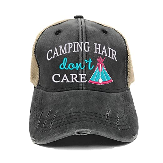 3c3f7b9db17 Custom Distressed Camping Hair Don t Care Women s Trucker Hat Embroidered Baseball  Cap Black Tan
