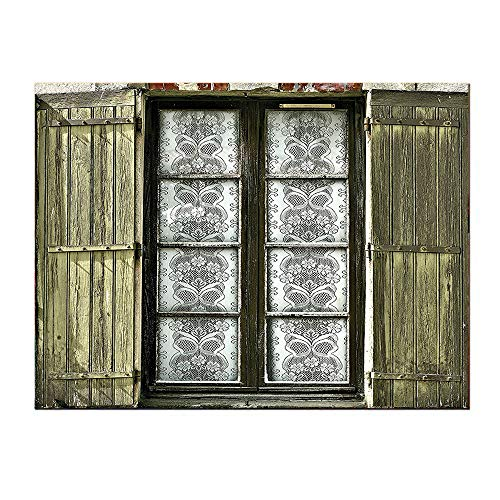 Art Work decorations-20Lx20W-Shutters European French Window with Antique Open Shutter Vintage Style Home Brown White.Self-Adhesive backplane/Detachable Modern Decorative Art.