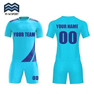 64f6fe2f39739 Sublimation Soccer Jersey Set Custom Club Uniforms With Your Team Name and  Number (Blue,