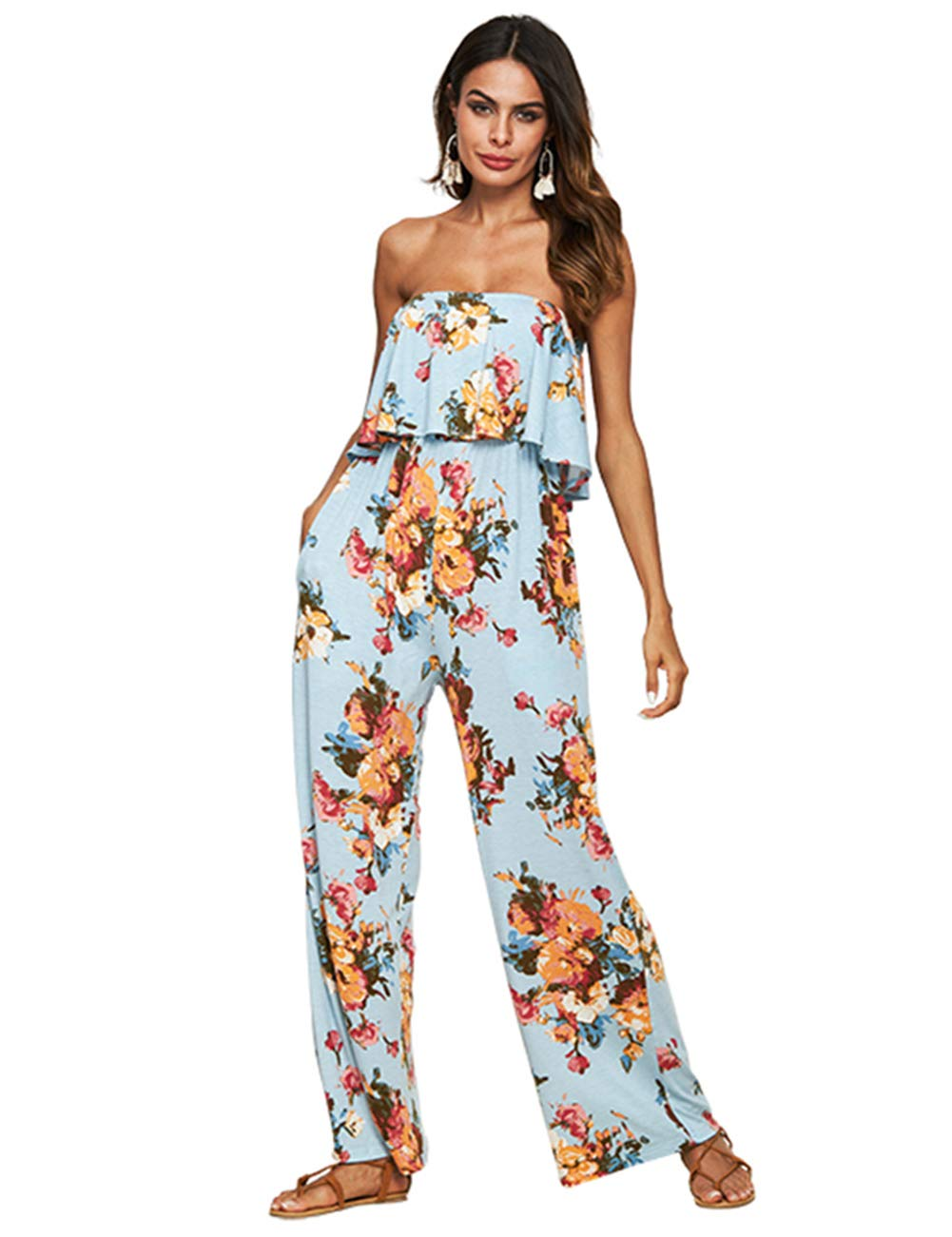 Desirepath Women Jumpsuits and Rompers Sexy Floral Printed Ruffled Flounce Bandeau Wide Leg Pants Blue