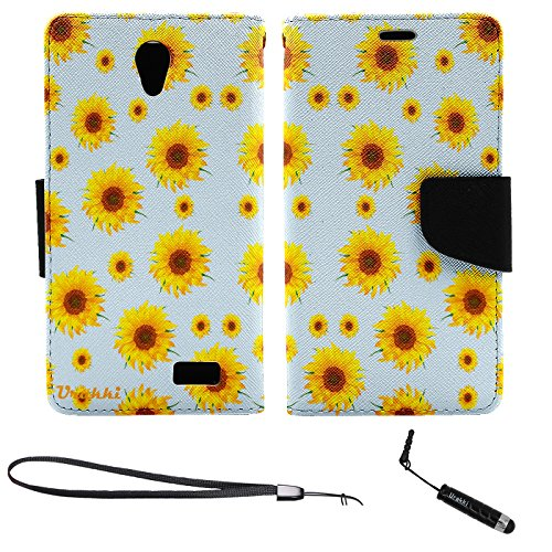 URAKKI Wallet Case, Stylish PU Leather Flip Pouch Wallet Folio Case Compatible with ZTE Z Five 2 ZFIVE 2 (2017), ZTE Avid Trio, ZTE Cheers (2016) [Yellow Daisy] Case ()