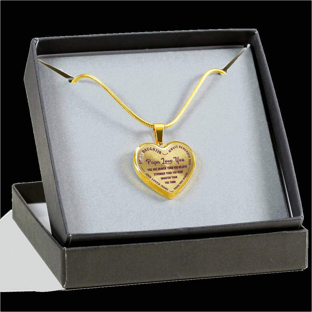 Papa Love You Heart Pendant from Father Child iGifts to My Daughter Necklaces Always Remember Quotes for Teen Girl Silver//18k Gold Finish