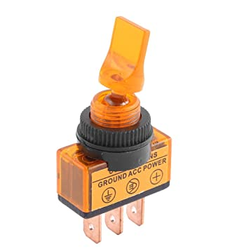 sourcingmap/® DC 12V 20A Yellow Lamp Short Arm 2 Positions SPST Toggle Switch 12mm