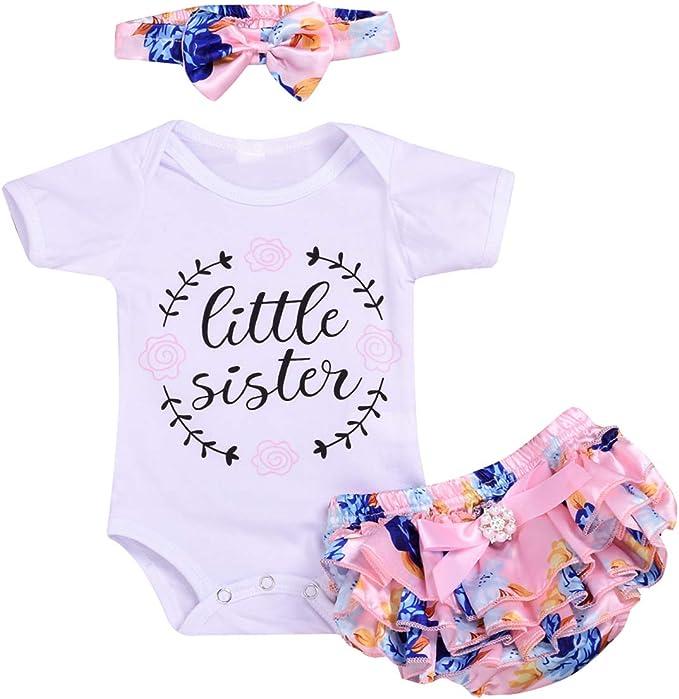Set di Vestiti per neonata con Stampa con Lettere DaMohony Pantaloncini Floreali e Fascia per Capelli 3 Pezzi per Bambini da 0 a 24 Mesi