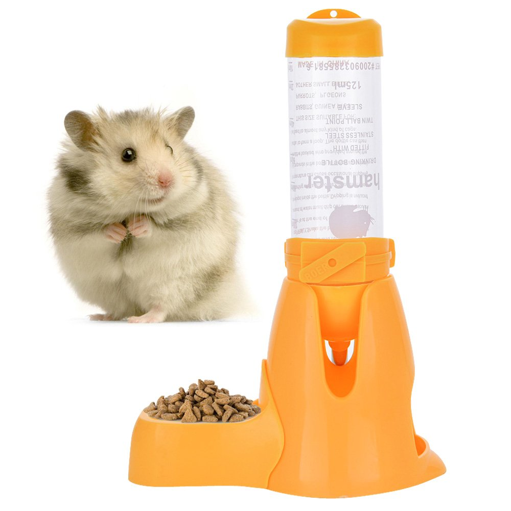 Pet Water Bottle,Pet Drinking Bottle with Food Container Base Hut By Guardians for Hamsters Rats Guinea-pigs Ferrets Rabbits Small Animals Hanging Water Feeding Bottles Auto Dispenser (125ml, Yellow)