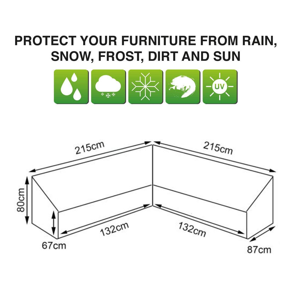 dDanke Silver Universal L Shape Sofa Covers for Left Hand Waterproof & Dustproof Furniture Outdoor Outside Cover, 84.65'' x 84.65'' x 34.25'' x 31.50''