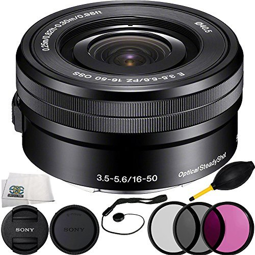 Sony E PZ 16‑50mm f/3.5‑5.6 OSS (White Box) + 6PC Bundle Includes 3 Piece Filter Kit (UV-CPL-FLD) + Cap Keeper + Lens Dust + Microfiber Cleaning ()