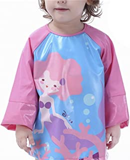Biofieay Kids Painting Apron Bibs Waterproof Long Sleeve Art Craft Play Coverall Smock for Children Boys Girls 1-6 Year