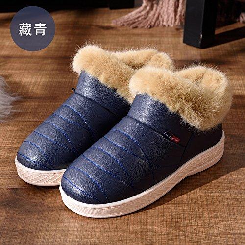 home aiutare rimanere alta scuro43 spesse pantofole pantofole pu confezione DogHaccd con cotone paio donne indoor cotone per antiscivolo scarpe uomini di di e Inverno Blu pelle impermeabile di qvAxCwC7n