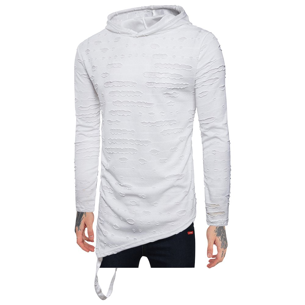 EWINGWORLD Hipster Men Stripe Shirts Hood Hip Hop Tops Holes Curved Hem Long Sleeves