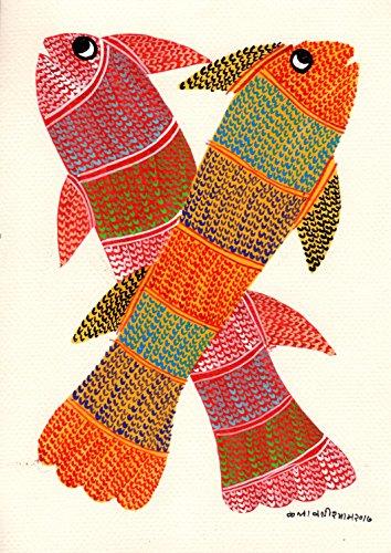 Gond Indian Painting Handmade Madhya Pradesh Tribal Folk Miniature Fish Art