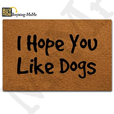 MsMr Doormat Entrance Floor Mat Decorative Door Mat for Home and Office with Non-Slip Rubber Backing 23.6x15.7 Inches - I Hope You Like Dogs