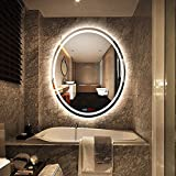 500x700mm LED Illuminated Bathroom Mirror Light, Make Up Dressing Wall Mounted Explosion-proof Mirror with Sensor Touch Switch+Digital Clock+Temperature Display+Demister (Oval, White light)