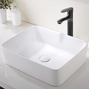 Modern Porcelain Above Counter White Ceramic Bathroom Vessel Sink