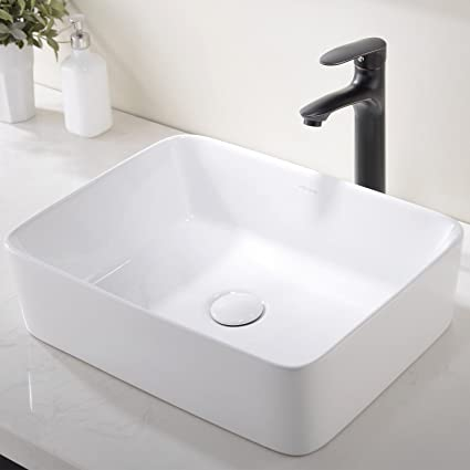 modern porcelain above counter white ceramic bathroom vessel sink rh amazon com