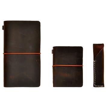 ZLYC FBA-LY-BB-0231-DC-1 - Set de 3 estuches de piel para diario, agenda y bolígrafo, color café negro