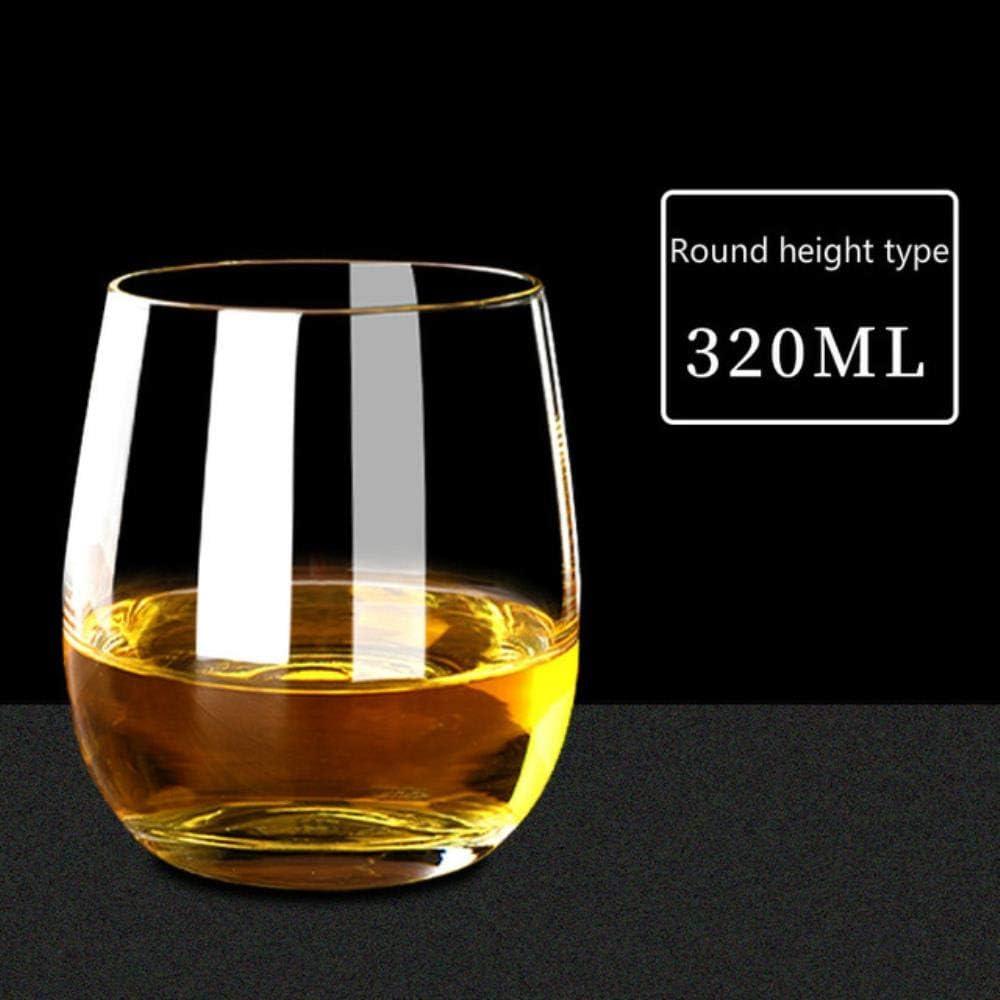 Whisky Vaso Cristal 200-400Ml Vaso De Whisky Vaso De Vino Sin Plomo Trigo Vaso De Cerveza Sin Tallo Vaso De Vodka Vasos Para Beber Bar Herramientas Gentleman'S Glass, Transparente 03
