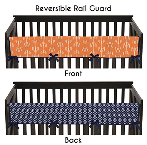 Sweet Jojo Designs Baby Crib Long Rail Guard Cover for Orange and Navy Arrow Print Bedding Collection by Sweet Jojo Designs